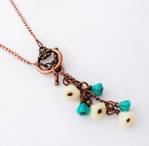 Flower Necklace - Cascading White and Teal, Antiqued Copper