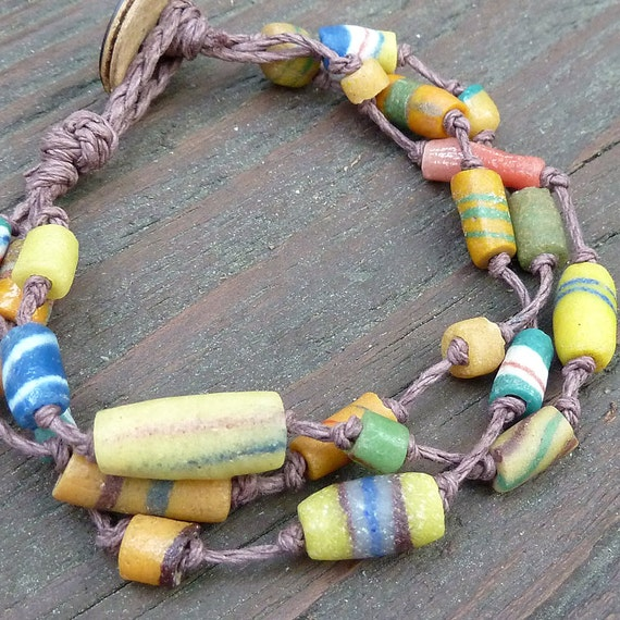 Sandcast Bead Bracelet - Colorful Ethiopian Christmas Beads, Brown Hemp Bracelet
