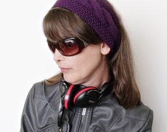 Purple Flower Headband Ear Warmers- Ready For Shipping