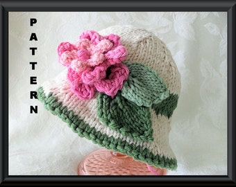 Knitted Hat Pattern Baby Hat Pattern Newborn Hat Pattern Infant Hat Pattern Baby Hat with Flower : PINK and RED Flowers BRIMMED Hat