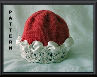 Knitted Hat Pattern Instant Download Baby Hat Pattern Knitting pattern for a Christmas Baby Hat or a Valentines Baby Hat: CHRISTMAS COLORS