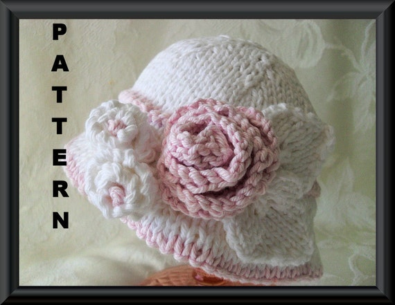 Knitting Pattern For Baby Hat With Brim : Knitted Hat Pattern Baby Hat Pattern Bonnet Pattern Instant