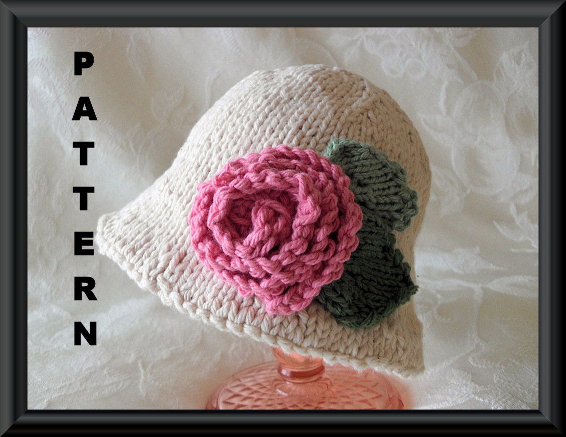 Knitting Pattern For Baby Hat With Brim : Knitted Hat Pattern Knitting Pattern for a Brimmed Baby Hat in