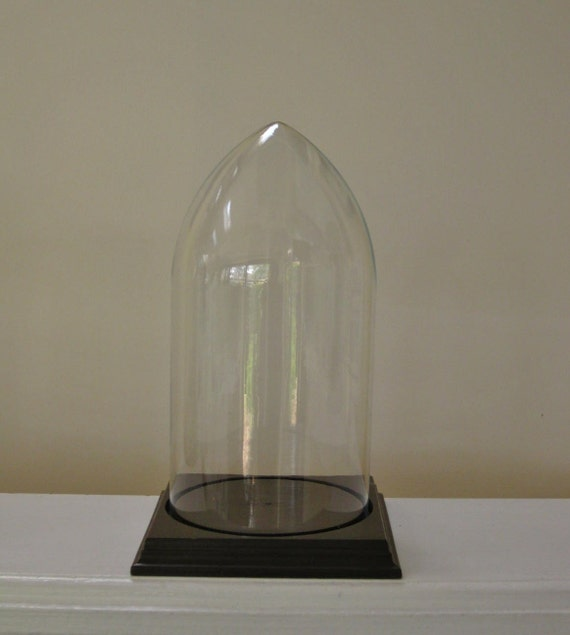 Vintage Glass Dome Cloche Square Wood Base Pointy Glass Dome for Home Display or Garden Decor