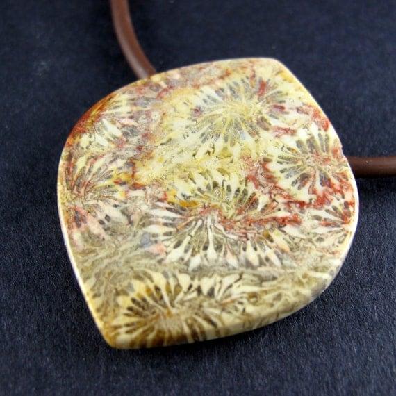 Fossil Coral Designer Pendant Focal Bead