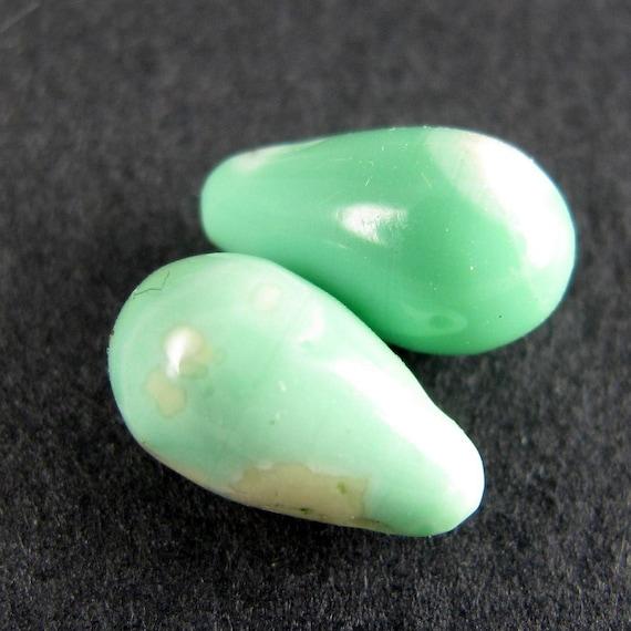 Australian Variscite Smooth Drop Matched Pair Sea Foam Green
