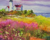 Nobska Lighthouse in Spring,  12x12 original painting on a wrap around canvas FREE SHIPPING