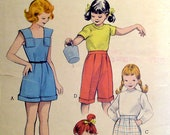 1950s Girls Playsuit, Pedal Pushers Butterick 6146 Sewing Pattern Size 8