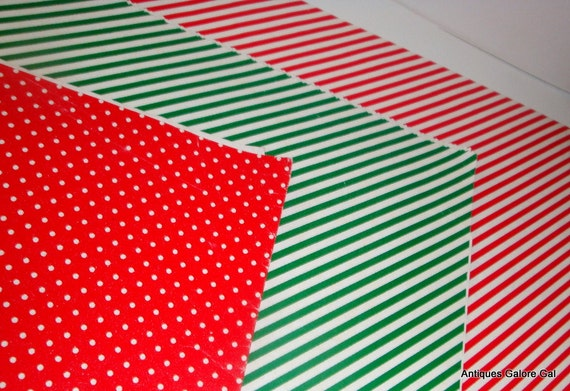 Red Green Gift Wrap, Christmas Wrapping Paper, Dots, Stripes, Shiny (629-12)