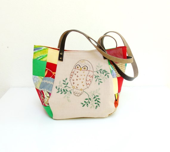 Woodland Owl Bag - Vintage Embroidery, Patchwork and Leather Bag.