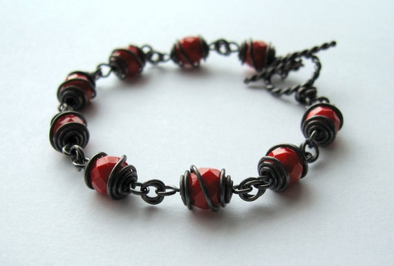 CLEARANCE 20% OFF Serafina bracelet with faceted Czech glass and black copper