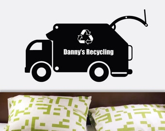 Custom Name Recycling Truck Vinyl Wall Decal Graphics by DECOmod Walls