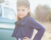 Navy blue jersey knit high neck bow tie vintage-inspired retro North Park blouse
