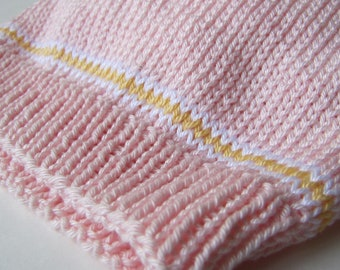 Girl's Hand Knit Pink Cotton Hat - 1 - 2 Years - Ready to Ship - Christmas Gift, Birthday Gift, Free Gift Wrapping