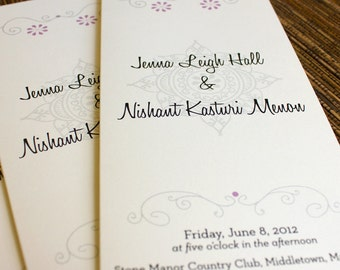 Mehndi Trifold Ceremony Program Wedding Custom Personalized Eastern Indian Hippie Bohemian
