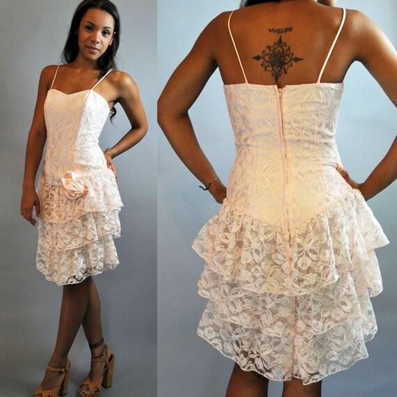 80s vintage dress romantic LACE dress / Pink Lace Ruffle Party Dress / spaghetti straps & tiered ruffle skirt XS / S extra small / small
