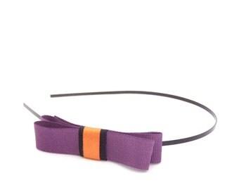 Halloween Headband - Black Metal Skinny Headband with Bow - Purple, Black, Orange