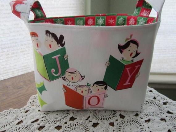 Reversible Organizer Fabric Christmas Carolers Joy Bin Basket Storage Caddy Storage