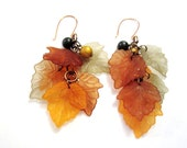 Leaf Medley Earrings, orange, green, brown, yellow