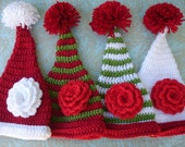 Santa Hat with a Flower in Four Styles