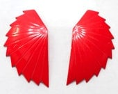 Bright Red Metal Enamel Abstract Wing Earrings