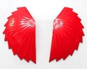 Bright Red Metal Enamel Abstract Wing Earrings