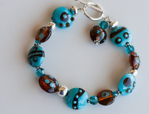 Summer Fun Funky Bracelet Artisan Lampwork Spots and Dots