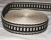 Black and cream hand woven inkle trim (over 14 feet)