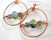 Wire Wrapped Copper Green Beaded Hoop Dangle Earrings Sterling Silver Earwires - CarolEJewelry