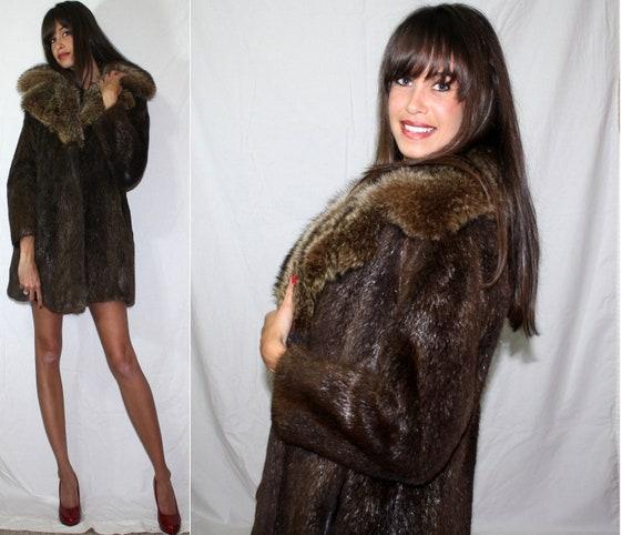 Vintage womens coat hook eye boston store jacket dark brown full genuine fox Mink fur M L 50's 60's