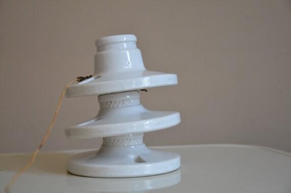 Trio of Vintage Porcelain Light Fixture. Leviton.