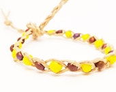 Hemp Super Wish Bracelet - Solid Yellow and Purple Glass Beads - Beaded and Braided- going out of businiss - al items 30% off