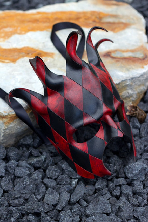 Black and Red Jester Handmade Leather Mask