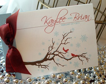 Winter Love Birds Branches and Snowflakes Booklet Wedding Invitation... SAMPLE