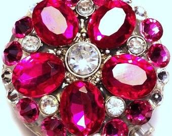 Bright Magenta Rhinestone Flower and Swarovski Crystal Embellished ID Badge Reel