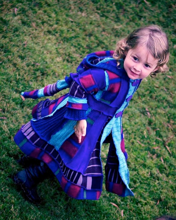 """RESERVED for jade1879 Custom made Girls Pixie Coat """"Twirling in the Tulips"""" size 3"""