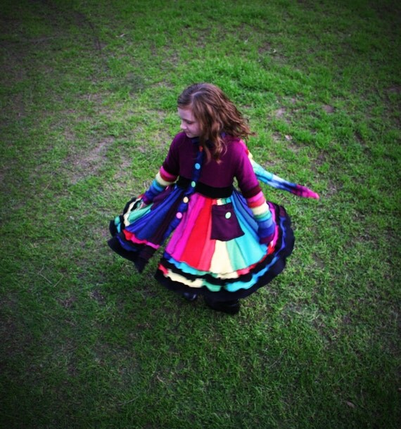 "AVAILABLE NOW  Girls Pixie Coat-  ""Over The Rainbow""    Girls Size 7 (to fit average 7 years old) with Organic Cotton Lining"