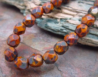 Sweetpotato Picasso Faceted Firepolished 6mm Czech Glass Beads Bestseller
