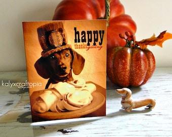 Cute Little Pilgrim Happy Thanksgiving Dachshund Card - Blank Inside