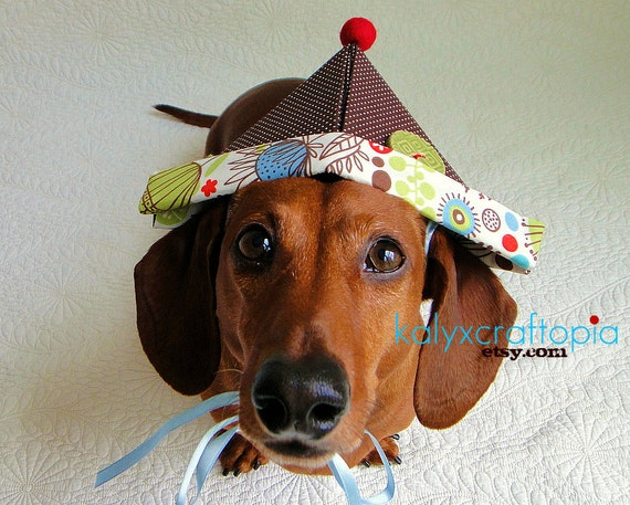 Wiener Dog Birthday Party Adventurer Hat - Chocolate Brown Polka Dot Kiwi Green Robin's Egg Blue Red