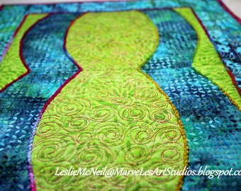 MarveLes CURVALICIOUS in LIME Art Quilt  table runner Home Decor Dining Decor Turquoise Green Purple Berry