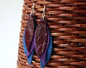 Leather Earrings in Red Purple and Blue - Handmade
