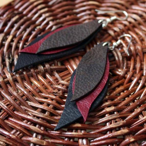 Leather Earrings in Brown Red and Black - Handmade Earrings