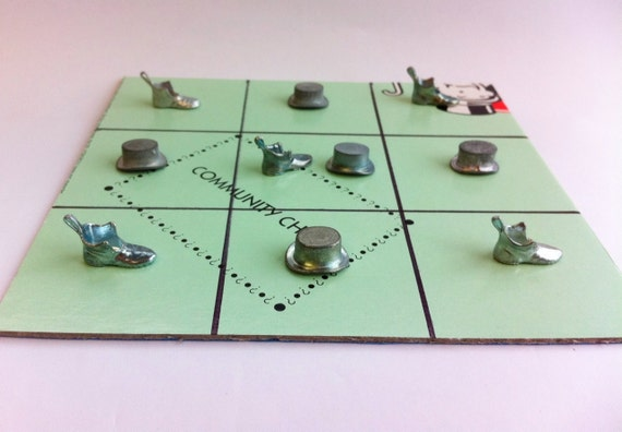 Monopoly tic tac toe game.  Hats vs shoes.  Made from vintage game token pieces and a real board game.