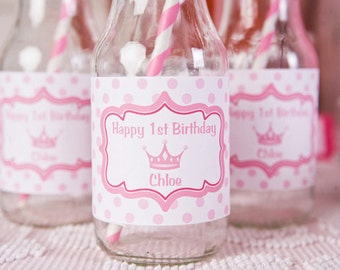 Princess Themed Water Bottle Labels - Princess Birthday Party Decorations in Hot & Light Pink (12)
