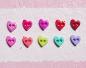 100 pcs. of   Tiny  Shiny Heart Buttons  in 10 Assorted colors