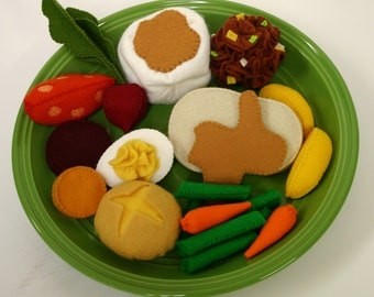 Wool Felt Play Food - Turkey Dinner - Waldorf Inspired Pretend Kitchen Accessory for Imaginative Play