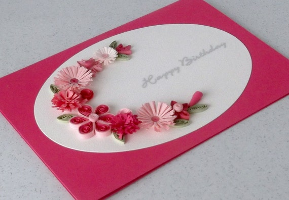 Quilled birthday card handmade greeting paper quilling for How to make a christmas card out of paper
