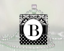 Damask and Polka Dots Initial Scrabble Tile Pendant Necklace or Keychain