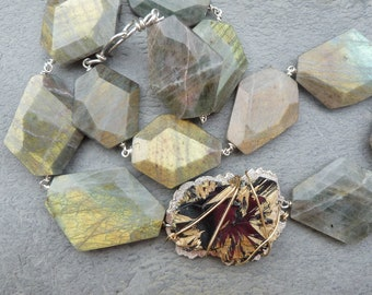 Sterling silver necklace with 1 big rutil-hematit and 1 stand of labradorits